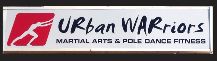 Urban Warrios, martial arts and pole dancing fitness logo